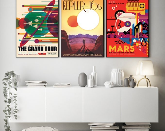 Outer Space Decor Set of 3 Space Travel Posters