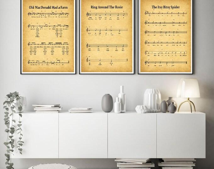 Nursery Prints Set of 3 Nursery Rhyme Posters WBNUR-1