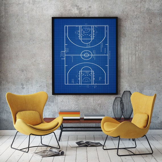 Basketball Court Plan Basketball Wall Art Basketball Decor Basketball Print Basketball Plan Basketball Player Gift Basketball Coach WB296