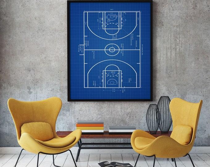 Basketball Court Plan Basketball Wall Art Basketball Decor Basketball Print Basketball Plan Basketball Player Gift Basketball Coach WB296