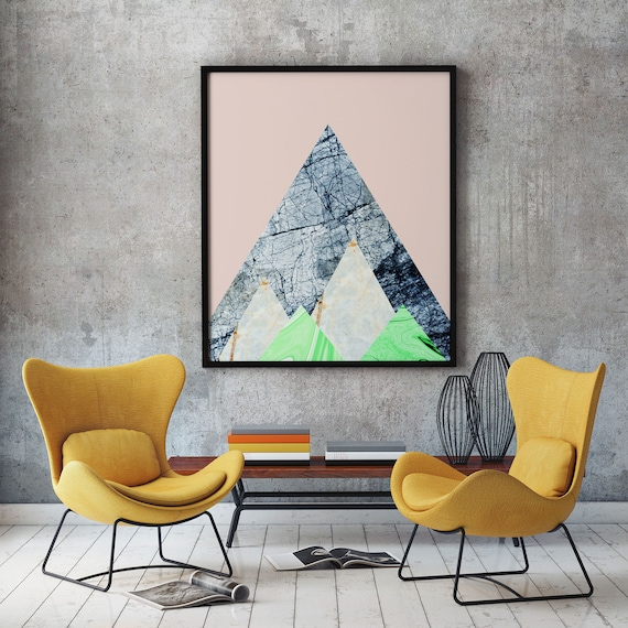 Abstract Marble Poster - Abstract Decor - Abstract Marble Print - Triangular Marble Wall Art