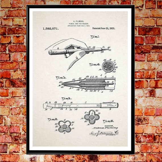 Hand Writing Poster Writing Print Pen and Pencil Holder Patent Print Stationary