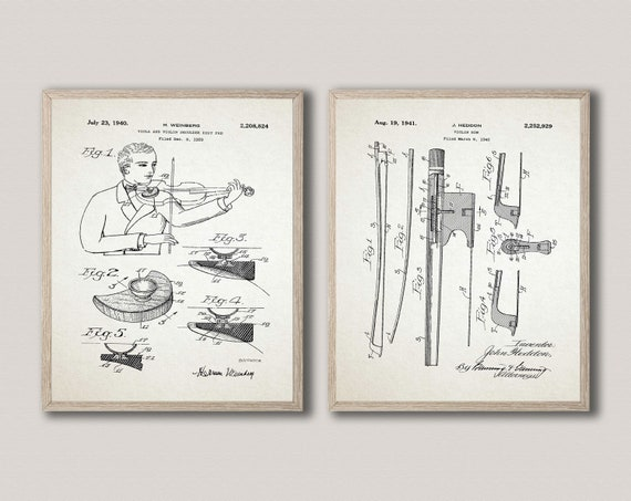 Fiddle Player Wall Art Irish Fiddle Inventions Violin Bow WB479-480