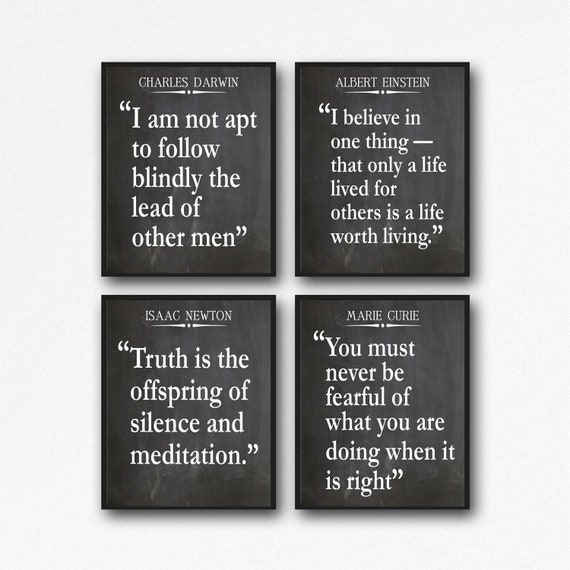 Inspiring Science Quotes Einstein Quote Newton Quote Darwin Quote Marie Curie Quote Set of 4