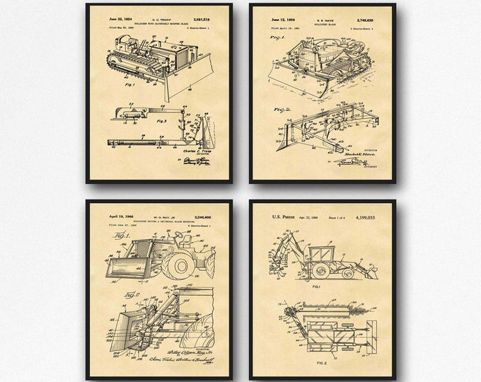 Construction Poster Set of 4 Excavator Patent Prints Construction Decor Construction Worker Art Builder Poster Gift WB366-367-369-370