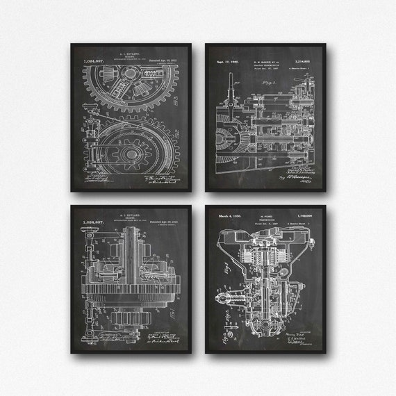 Engine Inventions Mechanical Blueprints Mechanical Gift Art