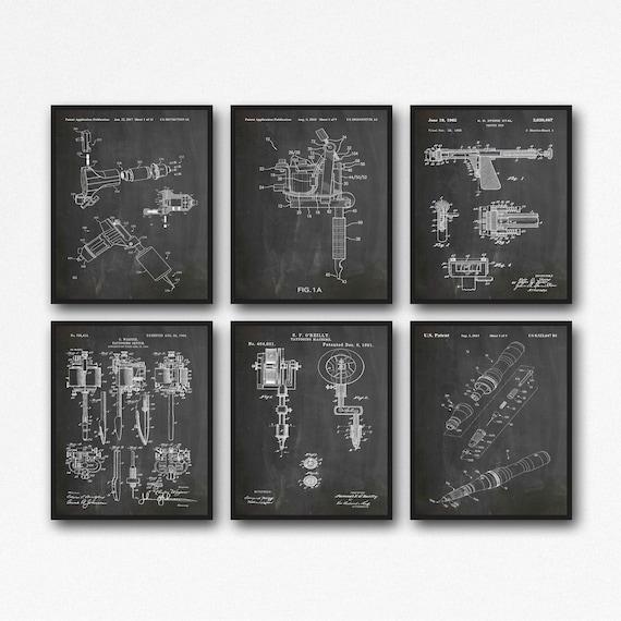 Tattoo Patent Prints Tattooing Art Tattoo Posters Set of 6
