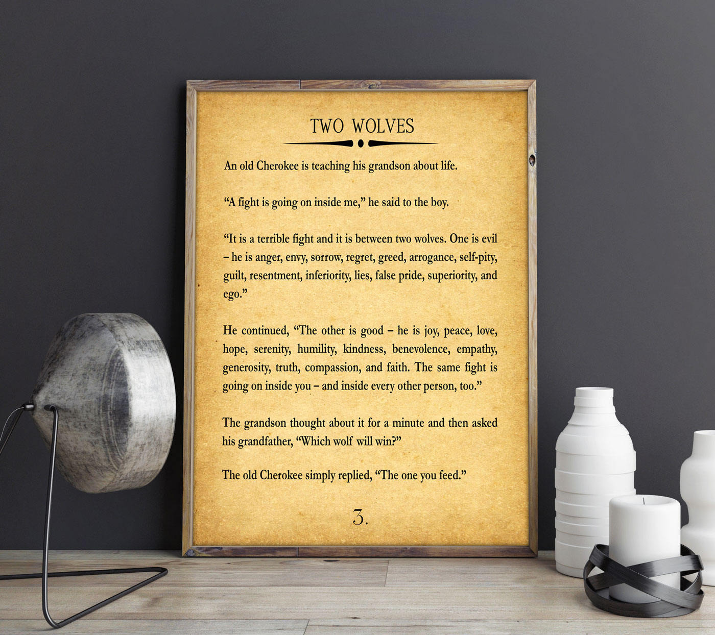 Two Wolves Story Large Book Page Wall Art Book Page Quote Cherokee ...