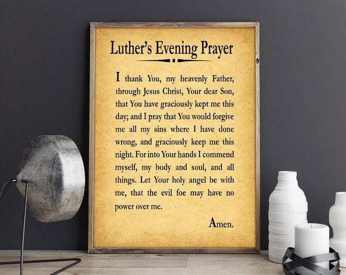 Luther's Evening Prayer Print Daily Christian Prayer Art