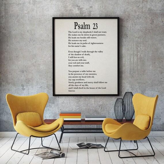 Psalm 23 Psalm 23 Print Psalm 23 Poster Bible Poster bible Print Bible Decor Bible Quote Psalm Quote Book of Psalms Bible Wall Art Christian