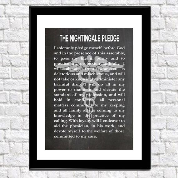 Nurse's Pledge Nurse graduation Gift Florence Nightingale Pledge Modern version