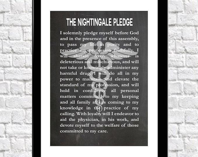 Nurse's Pledge Nurse graduation Gift Florence Nightingale Pledge Modern version
