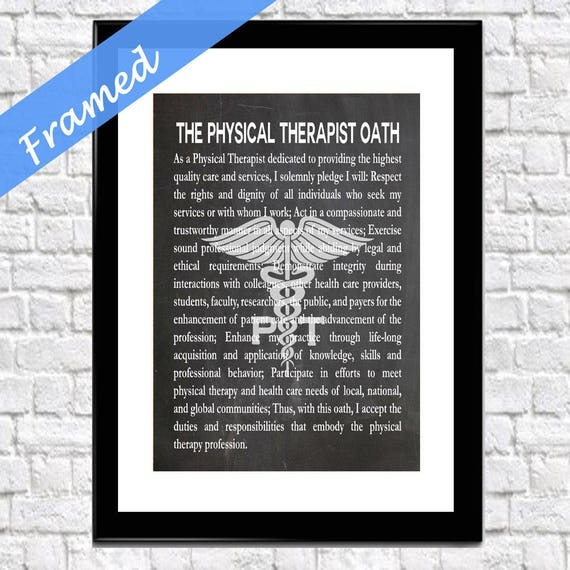 Physical Therapist Gift Framed Physical Therapy Oath Wall Art