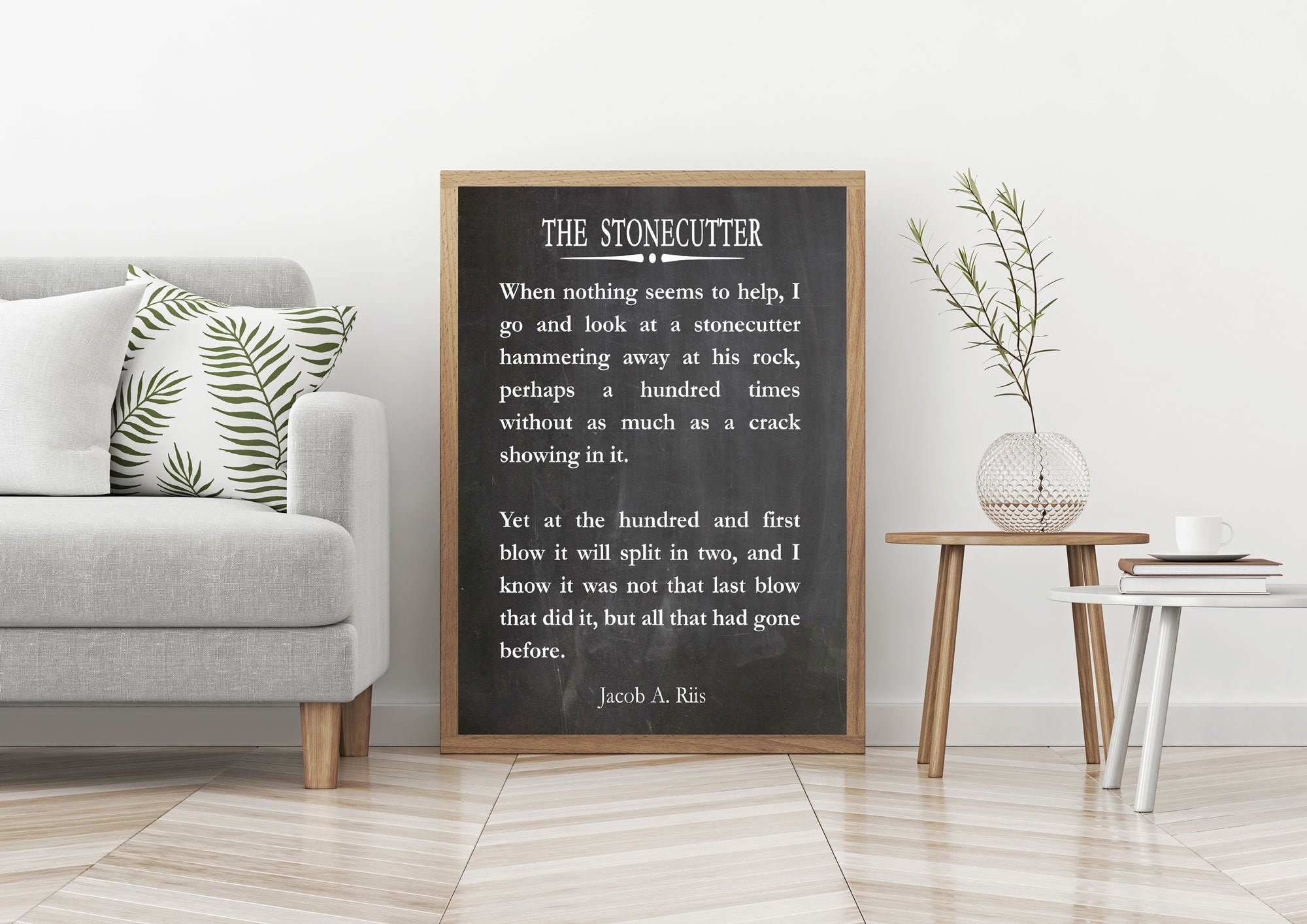 The Stonecutter by Jacob Riis Motivational Sports Quote Inspiring Wall Art