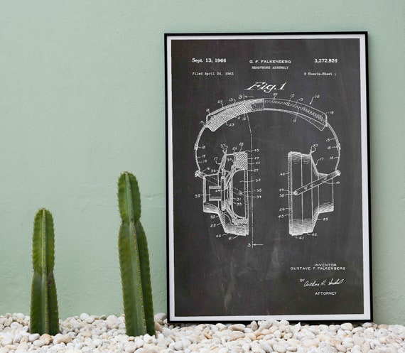Headphones Patent Print Headphones Poster Music Lover Gift WB522