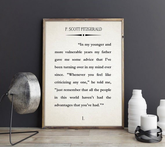 The Great Gatsby First Page Book Wall Art Literary Print F Scott Fitzgerald Wall Art Quote Book Poster Literature Gift