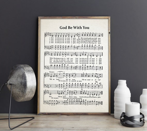 God Be With You Hymn Sheet - Hymn Music Sheet - Hymn Sheet Decor - Christian Decor