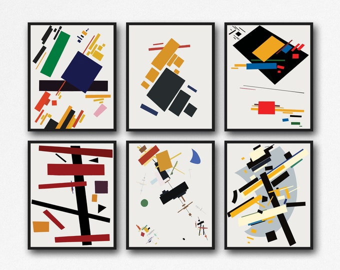 Abstract Modern Posters by Kazimir Malevich Art Set of 6