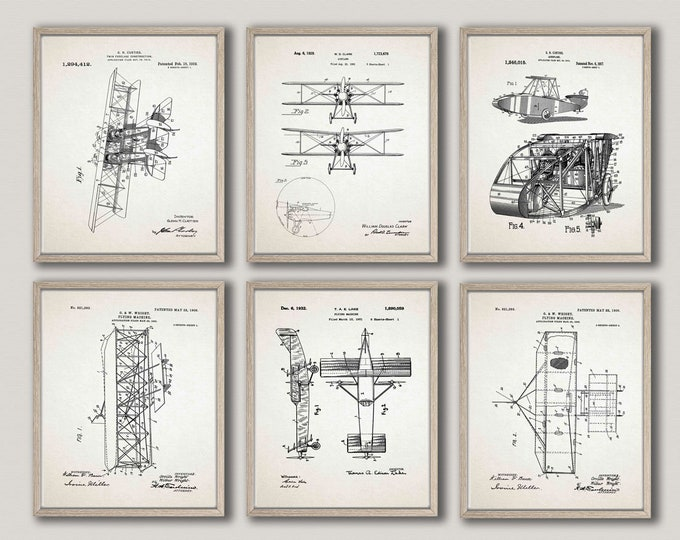 Airplane Poster Airplane Blueprints Set of 6 Airplane Decor Gift For Pilot Airplane Prints Airplane Wall Art Airplane Pilot Gift WB312-WB317