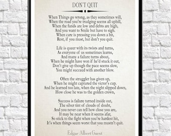 Don't Quit Poem Don't Quit Motivational Poem Inspiring Poem Motivating Poem Inspirational Poem Positive Poster Poem Poster Poetry Poster