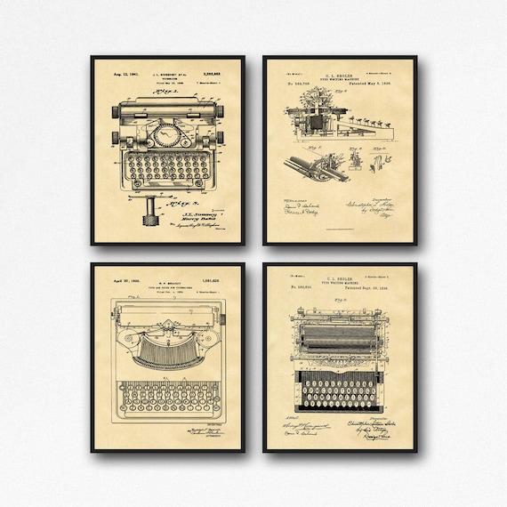 Vintage Typewriter Patent Posters Set of 4 Typewriter Prints Typewriter Art Gift for Writer Gift Office Wall Art WB43-234-235-236