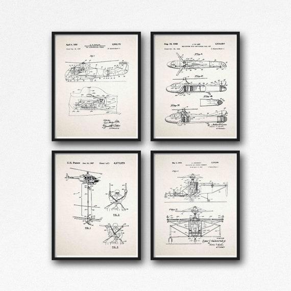 Helicopter Gift Set of 4 helicopter Posters WB533-WB536