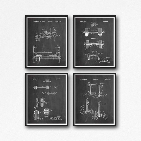 Weights Room Crossfit Decor Dumb Bell Olympic Bar Weights Rack Set of 4 Weight Lifting Gift Fitness Gift for Gym Wall Art WB282-WB286