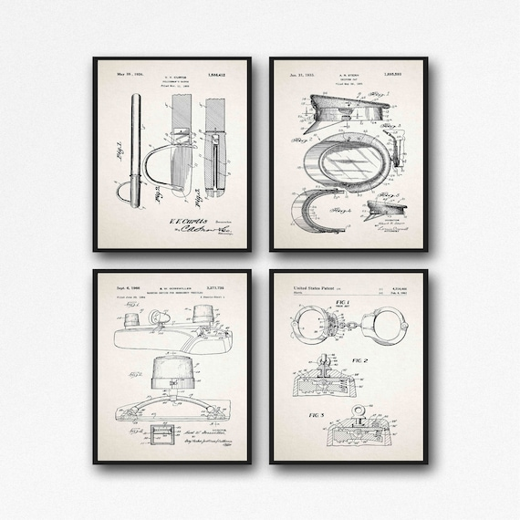 Police Decor Police Gift for Law Enforcement Officer Set of 4 Police Invention Posters WB571-576