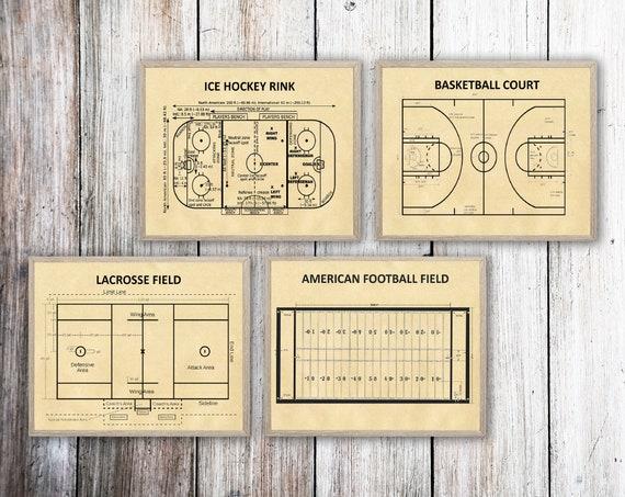 Sport Posters Set of 4 Basketball Court Lacrosse Field American Football Field Ice Hockey Rink