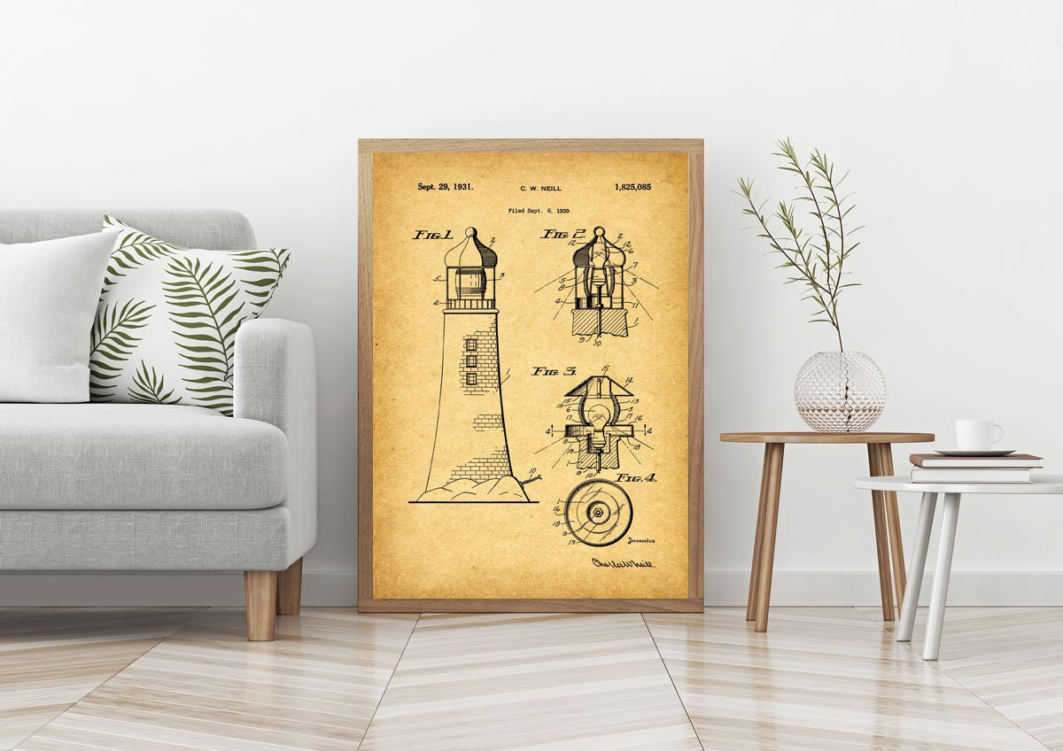 Lighthouse Poster Lighthouse Wall Art Lighthouse Blueprint ...