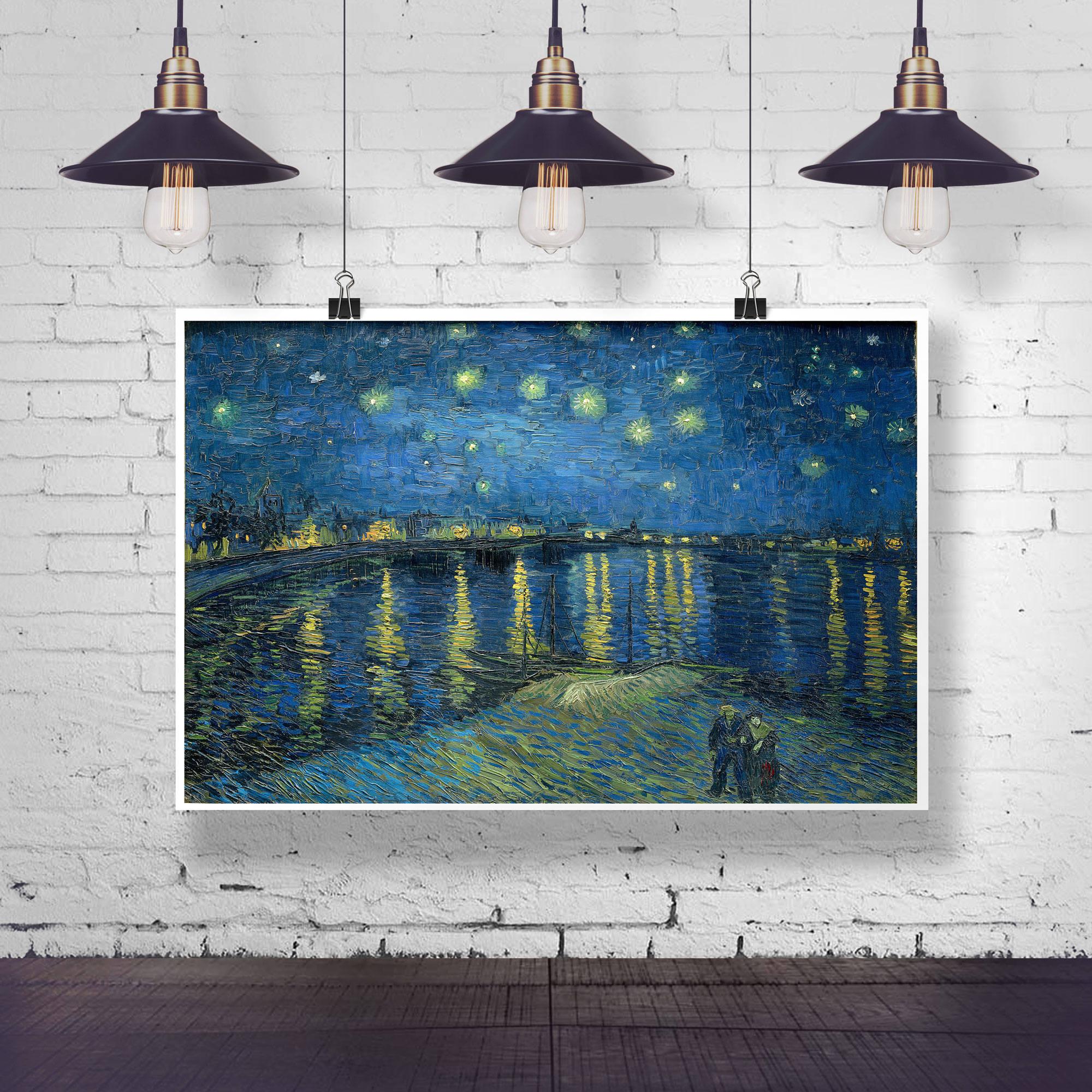 Starry Night Over The Rhone by Vincent Van Gogh Painting Van Gogh Wall Art Starry Night Painting Starry Night Wall Art Large painting Decor & Starry Night Over The Rhone by Vincent Van Gogh Painting Van Gogh ...