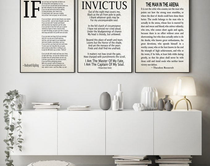 If Poem Invictus Poem and Man in the Arena Poems Set of 3