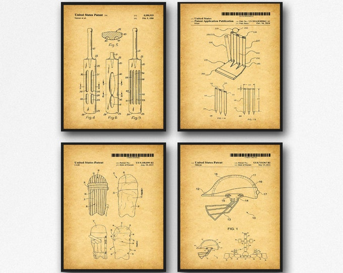 Cricket Posters Set of 4 Cricket Patent Prints Cricket Gift WB567-WB570