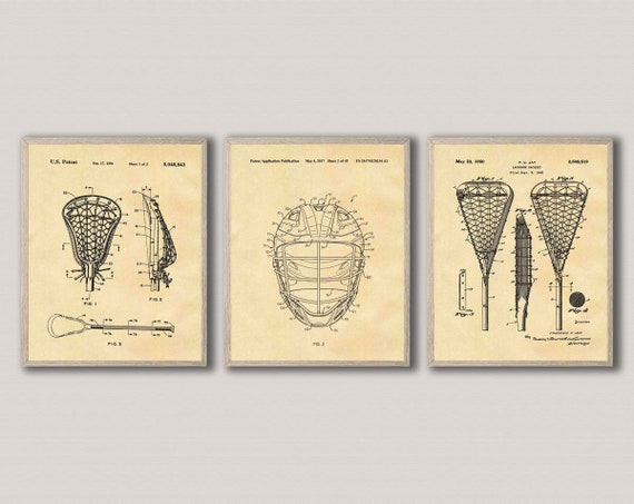 Lacrosse Poster Set of 3 Lacrosse Patent Prints Lacrosse Wall Art Lacrosse Decor Lacrosse Art Lacrosse Gift Lacrosse Stick WB292-293-294