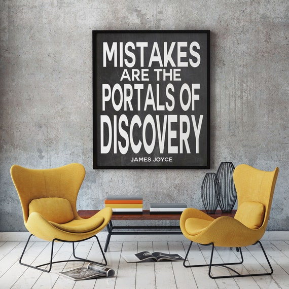 James Joyce Quote Mistakes Are The Portals Of Discovery Literary Quote Inspiring Poster Inspiring Print Classroom Poster Teaching Poster