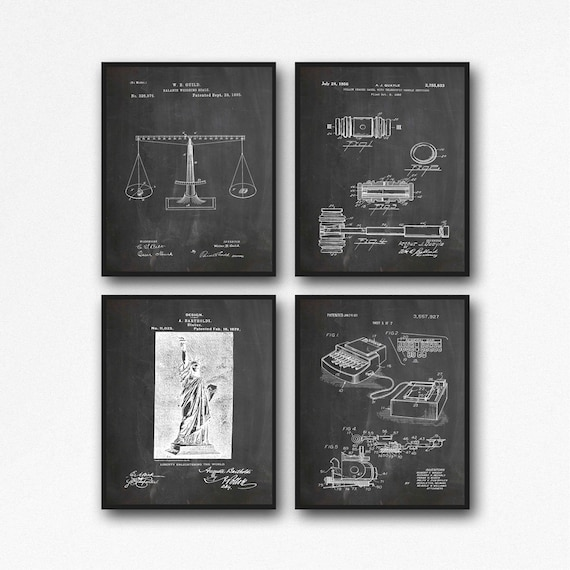 Law Posters Attorney Posters Set of 4 Lawyer Prints Law Decor Lawyer Decor Law Wall Art Patent Legal Posters Courtroom Decor WB388-WB391