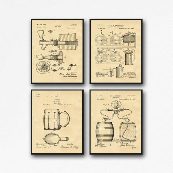 Craft Beer Gift Posters - Set of 4 Beer Patent Posters - Beer Lover Gift Home Brew Beer Decor WB133A