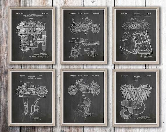 Motorbike Gift Prints Motorcycle Gift Patent Posters Set of 6 Biker Posters Motorcycle Wall Art Motorbike Art Motorcycle Art WB302-WB307