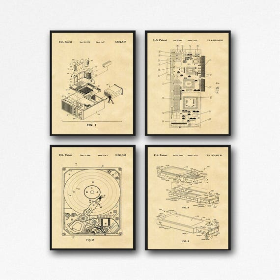 Computer Posters Set of 4 Computer Patent Posters Hard Drive Poster Graphics Card Poster USB Poster Computer Geek Wall Art IT Posters WB160