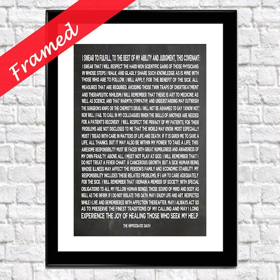 Hippocratic Oath Framed Gift for Doctor Gift for Medical Student Graduation Gift Medical Gift Student Medical Wall Art Medical Gift