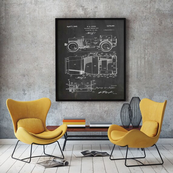 Willy's Jeep Poster Jeep Patent Poster WWII Poster WWII Military Wall Art Military Poster Jeep Patent Print Jeep Decor Jeep Garage WB343
