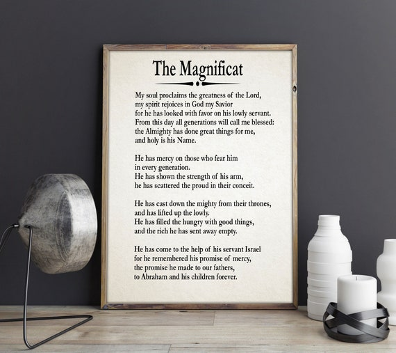 The Magnificat Prayer Canticle of Mary Prayer Prayer Gift Song of Mary Prayer Wall Art