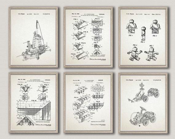 Toy Brick Wall Art Set of 6 Nursery Prints Toy Patent Prints WB326-WB330-001