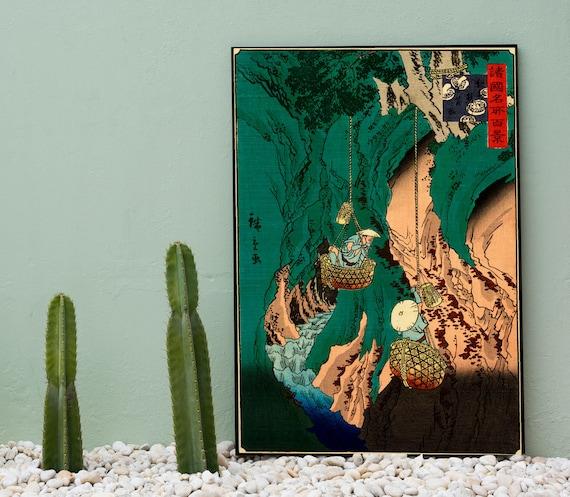 Japanese Art Hiroshige Gathering Mushrooms Woodblock Poster Green Decor