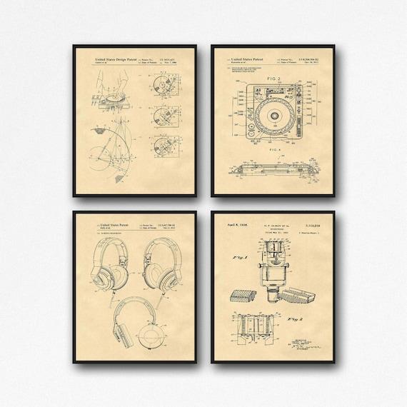 DJ Patent Print Set of 4 DJ Posters Music Studio Decor WB557-WB561