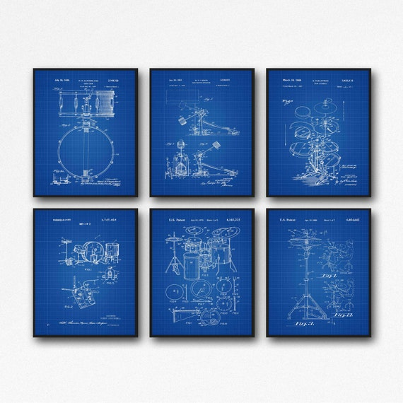 Drum Posters Set of 6 Drum Patent Prints Music Room Decor WB459-464