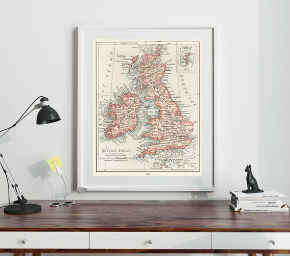 Great Britain Vintage Map of The British Isles 1900