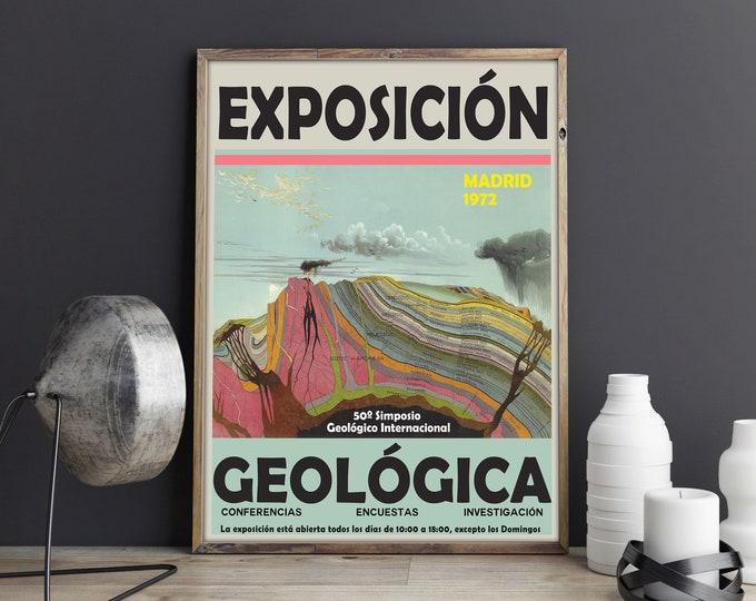 Geological Exhibition Poster 1972 Geology Poster Geology Print