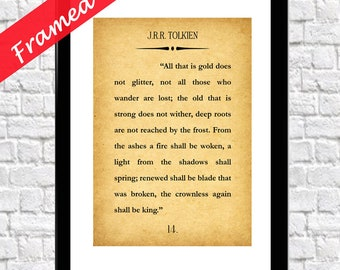 Lord of the Rings Quote Framed Tolkien Quote Tolkien Print All that Glitters Quote JRR Tolkien Print Lord of the Rings Gift Framed Gift