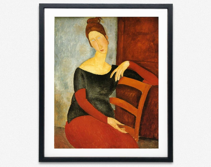 Woman in Red Chair Painting by Amedeo Modigliani Woman Painting Modern Oil Painting Modernist Painting Modern Wall Art Modern Poster